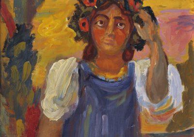 "Sveshnikov ""Young Woman in Wreath"" 1961"